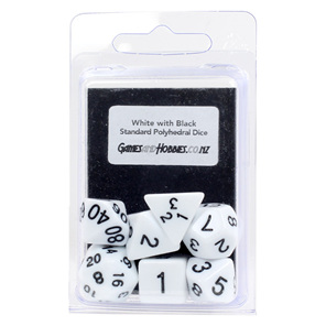 White with Black Standard Polyhedral Dice Games and Hobbies New Zealand NZ
