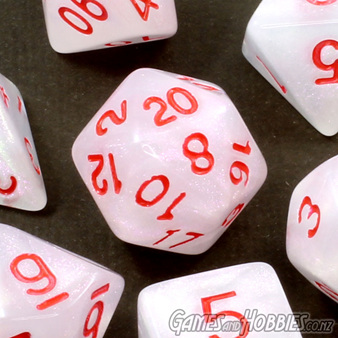 White with Red Marble Polyhedral Dice Games and Hobbies New Zealand