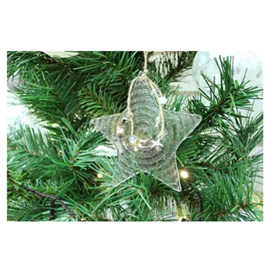 Willow Glass Star Decoration - Clear Glass & Twine - 23.5cm