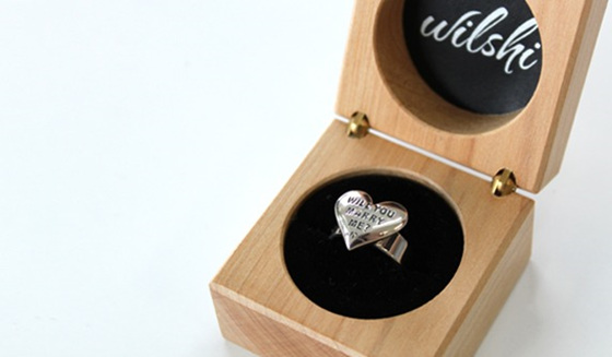 Wilshi Proposal Ring in handmade wooden jewellery box