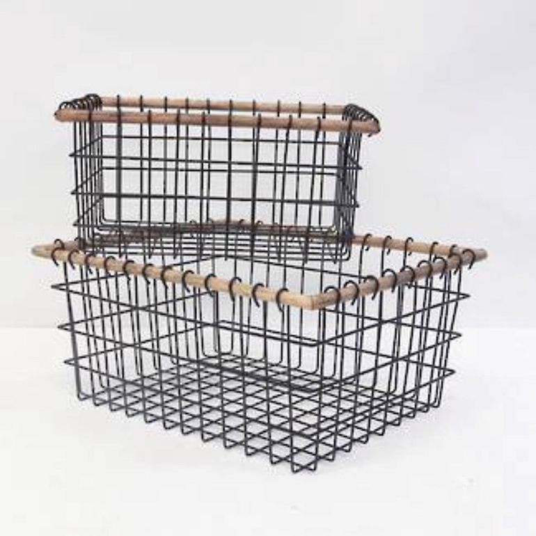 Wire Basket with Wood Trim Large
