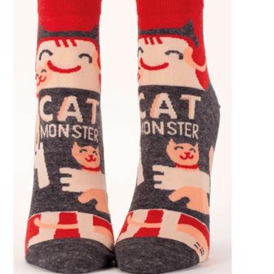 Womens Ankle Socks - Cat Monster
