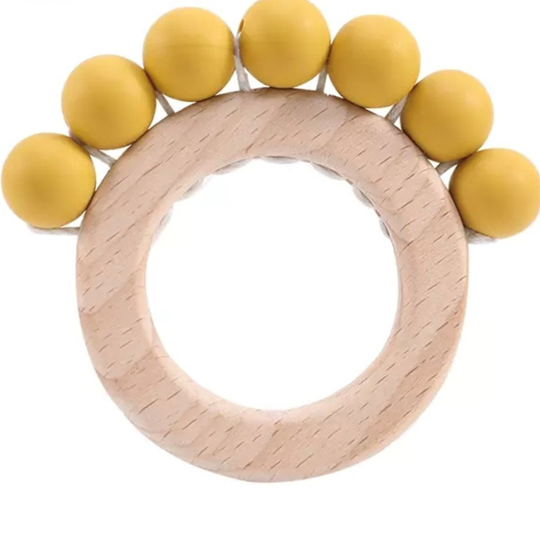 Wood & Silicone Teether - Mustard