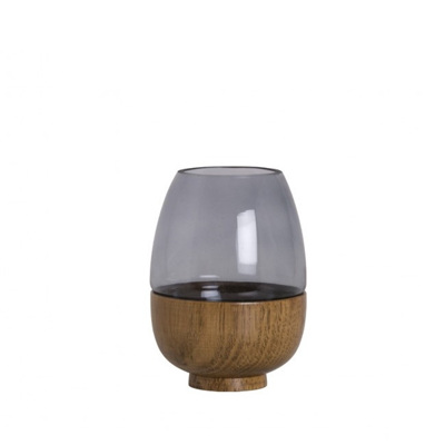 Wooden Based Vase Small - Smoke