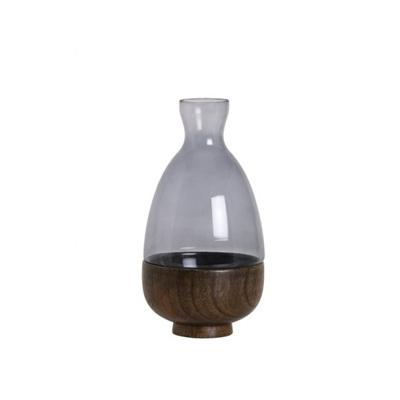 Wooden Based Vase Tall - Smoke
