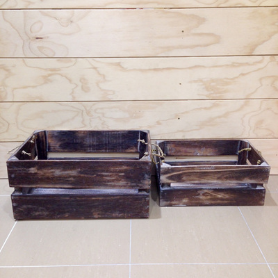 Wooden Crate with Rope Handles Natural