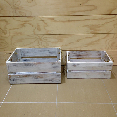 Wooden Crate with Rope Handles White