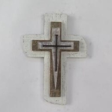 Wooden Cross With Metal - 30.5cm