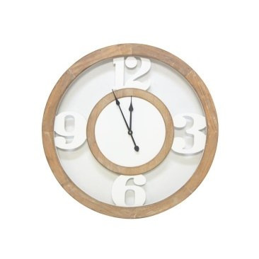 Wooden Cut Out Clock - Natural & White 60cmh