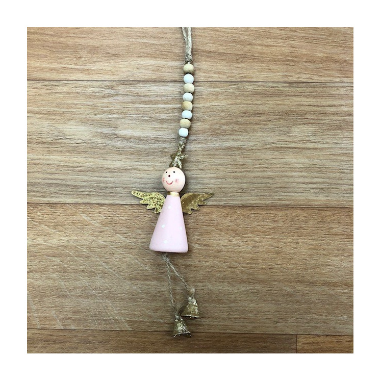 Wooden Hanging Angel Pink Gold