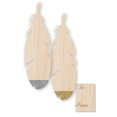 Wooden Jumbo Feather Gift Tags
