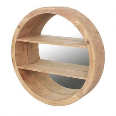 Wooden Round Mirror w Shelf
