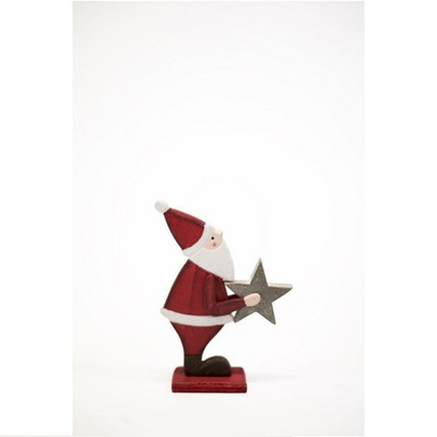 Wooden Santa with Star - Small