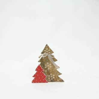 Wooden Tree with Snowflake Design