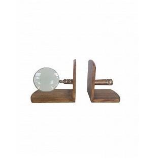 Wooden/Brass Magnifier Bookend Set