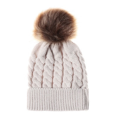 Wool Style Hat with Pompom Cream