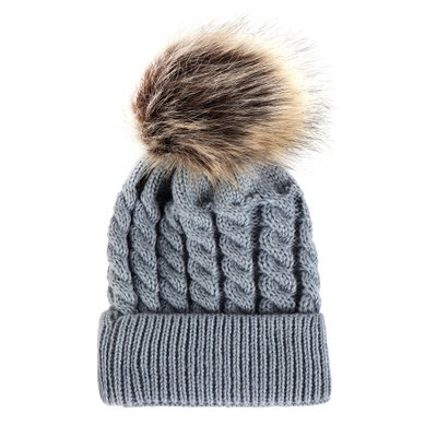 Wool Style Hat with Pompom Grey