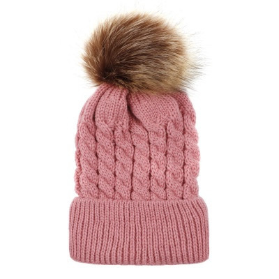 Wool Style Hat with Pompom Pink