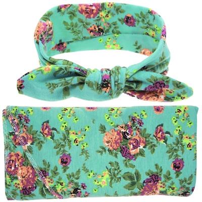 Wrap & Headband Set - Flora Posie Green