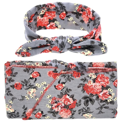 Wrap & Headband Set - Flora Posie Grey