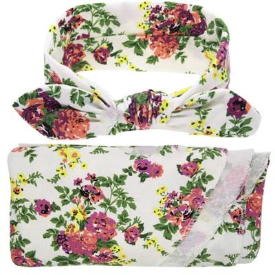 Wrap & Headband Set - Flora Posie White