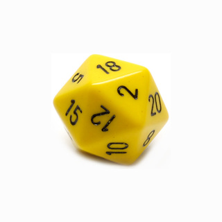 Yellow with Black Large Twenty Sided Dice