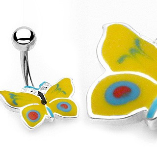 Yellow Butterfly Navel Bar