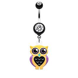 Yellow Owl Dangle Navel Bar