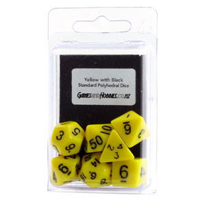 Yellow with Black Standard Polyhedral Dice Games and Hobbies New Zealand NZ