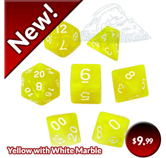 Yellow with White Marbled Dice Games and Hobbies New Zealand NZ