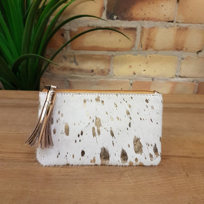 York Tassel Clutch - Gold White/Gold Leather