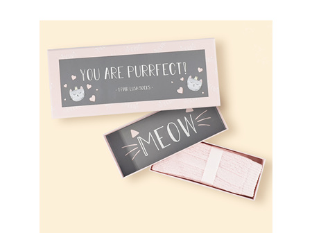 """You are purrfect"" Gift box with 1 pait of lush socks"
