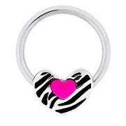 Zebra Print Heart w/ Pink Heart Captive Ring