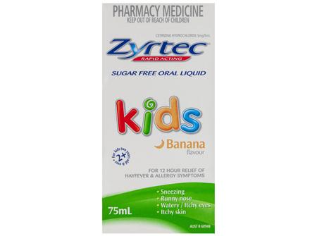 Zyrtec Allergy & Hayfever Kids Fast Acting Liquid 75mL