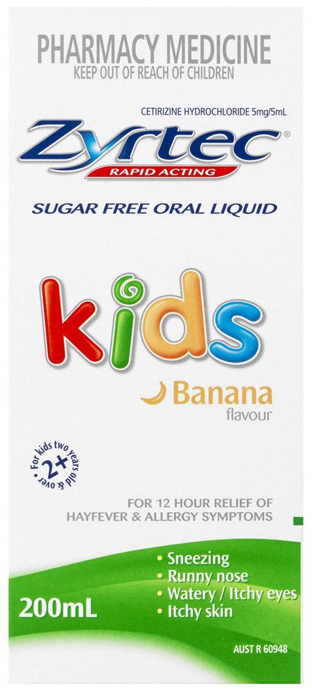 Zyrtec Cetirizine Kids Fast Acting Relief Sugar Free Banana 200mL
