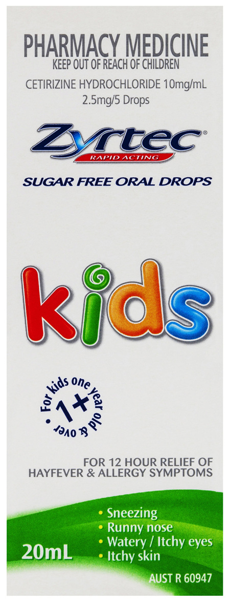 Zyrtec Cetirizine Kids Fast Acting Relief Sugar Free 20mL