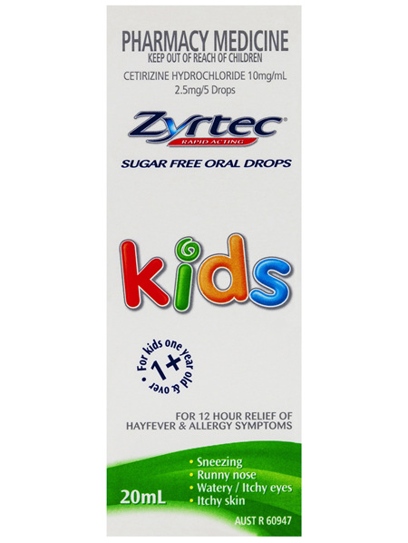 Zyrtec Cetirizine Kids Fast Acting Relief Sugar Free 20mL