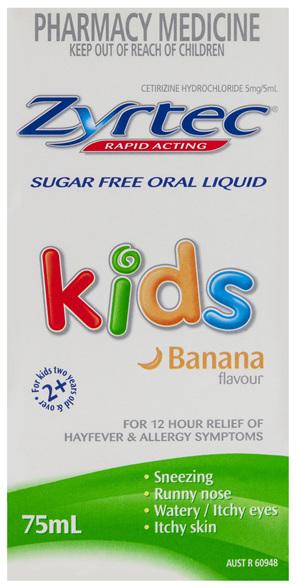 Zyrtec Cetirizine Kids Fast Acting Relief Sugar Free Banana 75mL