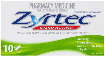 Zyrtec Cetirizine Rapid Acting 24 Hour Relief Hayfever Tablets 10 Pack