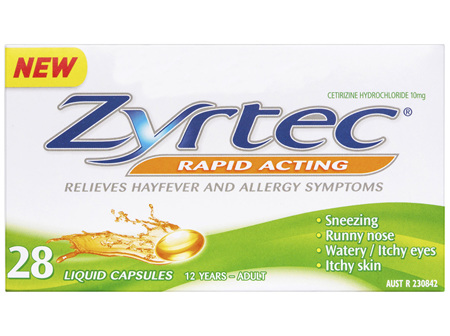 Zyrtec Cetirizine Rapid Acting Relief - 28 Caps