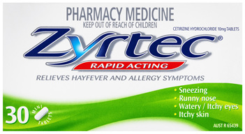 Zyrtec Cetirizine Rapid Acting Relief 30 Tablets