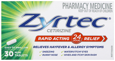 Zyrtec Cetirizine Rapid Acting Relief 30 Tablets