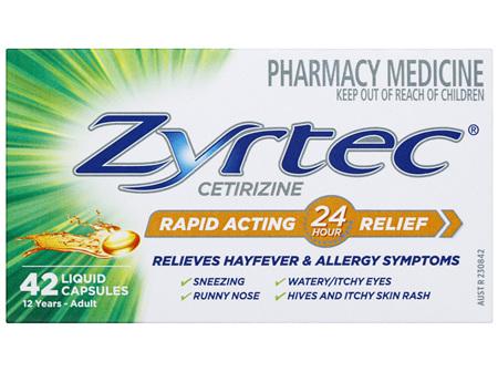 Zyrtec Cetirizine Rapid Acting Relief - 42 Caps
