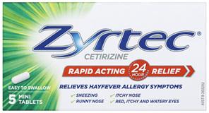 Zyrtec Cetirizine Rapid Acting Relief 5 Tablets