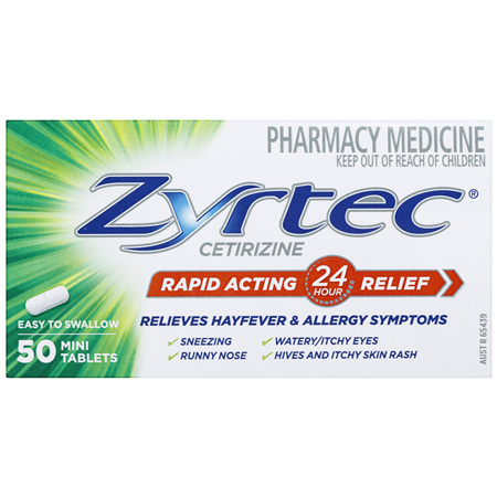 Zyrtec Cetirizine Rapid Acting Relief 50 Tablets