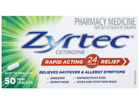 Zyrtec Cetirizine Rapid Acting Relief 50 Tablets