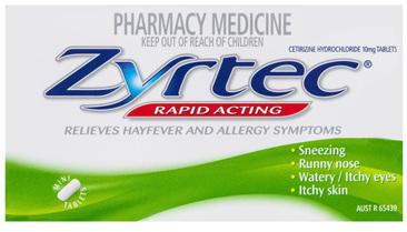 Zyrtec Cetirizine Rapid Acting Relief 60 Tablets
