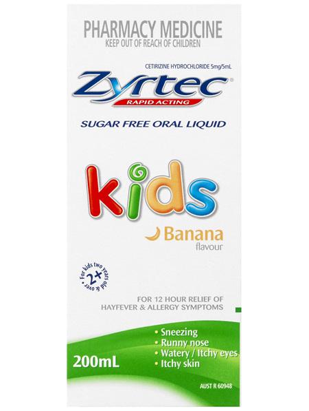 Zyrtec Kids Fast Acting Allergy & Hayfever Relief Liquid 200mL