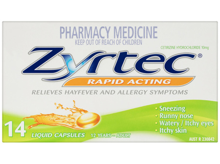 Zyrtec Rapid Acting Allergy & Hayfever Capsules 14 Pack