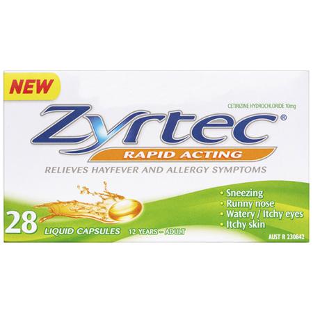 Zyrtec Rapid Acting Allergy & Hayfever Relief 28 Capsules